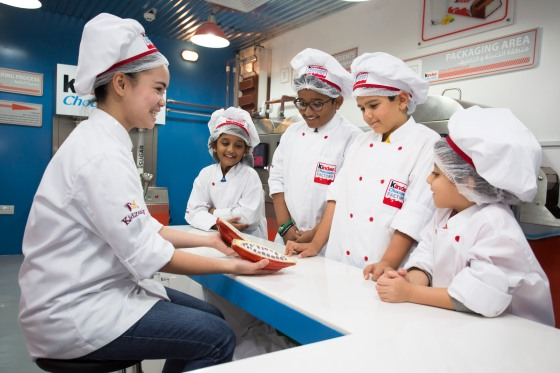 Children at Kinder Chocolate Factory, KidZania