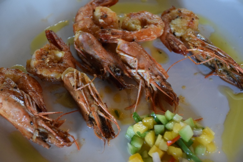 King prawns with mango sauce