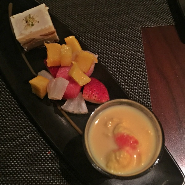 Gulab gamon cheesecake, mixed fresh fruits, rasmalay